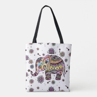 Colorful Flowers Baby Elephant Illustration Tote Bag
