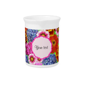 Colorful Flowers Beverage Pitchers