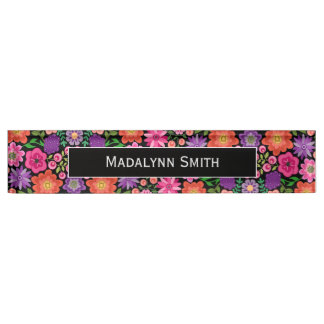 Colorful Flowers Black Background and Name Desk Name Plates