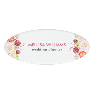 Colorful flowers bouquet name tag