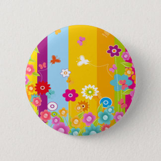 Colorful Flowers butterflies and bars 6 Cm Round Badge