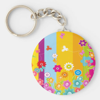 Colorful Flowers butterflies and bars Basic Round Button Key Ring