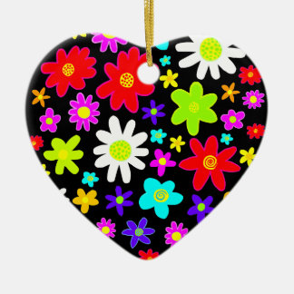 Colorful Flowers Ceramic Heart Decoration