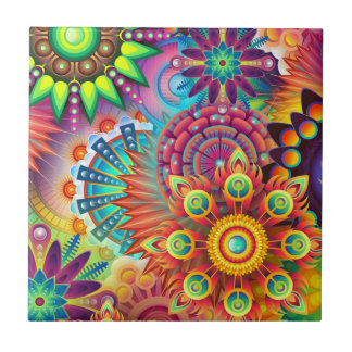 Colorful Flowers Ceramic Tile