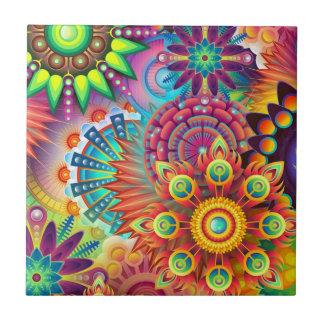 Colorful Flowers Ceramic Tile