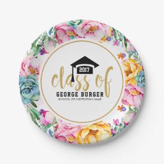 Colorful Flowers Circle Grad Design Paper Plate