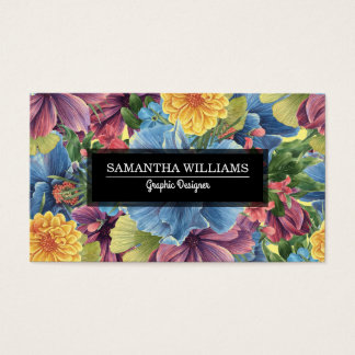 Colorful Flowers Collage Business Card