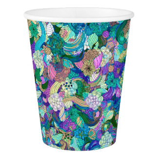 Colorful Flowers Collage Pattern Paper Cup