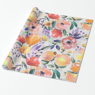 Colorful Flowers Collage Wrapping Paper