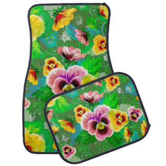 Colorful Flowers Design Car Mat