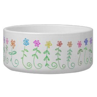 Colorful Flowers Doodle Pet Bowl