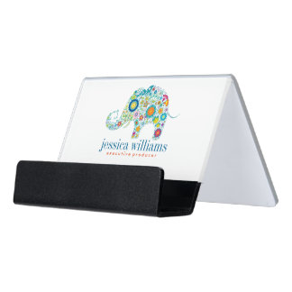 Colorful Flowers Elephant Illustration Desk Business Card Holder
