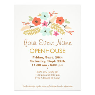 Colorful Flowers Floral Open House Flyer