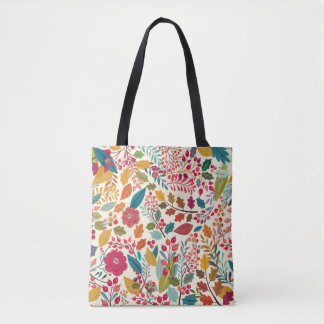 Colorful Flowers & Forest Autumn Leaves Pattern Tote Bag