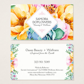 Colorful  Flowers & Green Cactus Watercolors Business Card