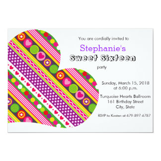 Colorful flowers hearts Sweet 16 Party Invitation