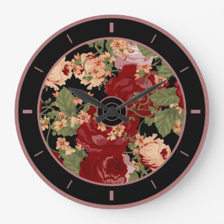 Colorful Flowers Illustration Collage Wall Clocks