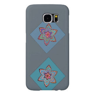 Colorful flowers in blue squares. samsung galaxy s6 cases
