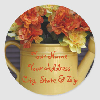 Colorful Flowers in Pot address stickers