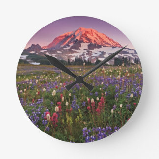 Colorful Flowers in Rainier National Park Clocks