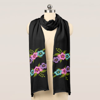 Colorful Flowers Jersey Scarf