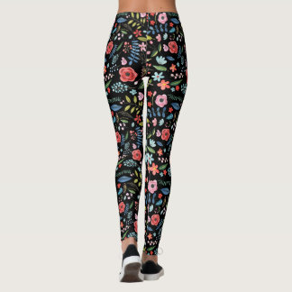 Colorful Flowers & Leafs Botanical Pattern Leggings