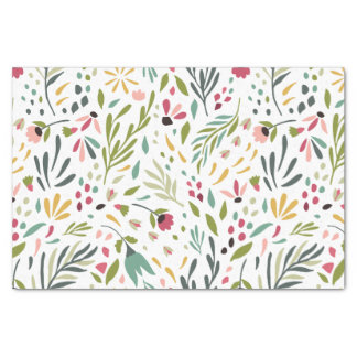 Colorful Flowers & Leafs Pattern Tissue Paper
