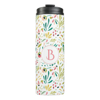 Colorful Flowers & Leafs Seamless Pattern Thermal Tumbler