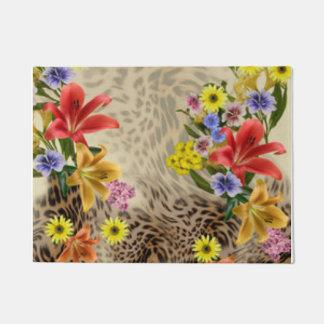 Colorful Flowers & Leopard Print Doormat