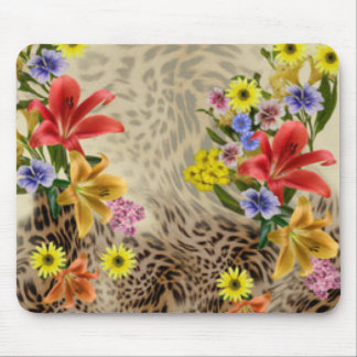 Colorful Flowers & Leopard Print Mouse Pad