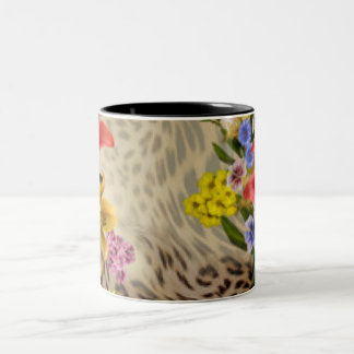 Colorful Flowers & Leopard Print Two-Tone Coffee Mug