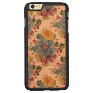 Colorful Flowers Modern Watercolors Pattern GR2 Carved Cherry iPhone 6 Plus Case