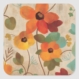 Colorful Flowers on an Off White Background Square Sticker