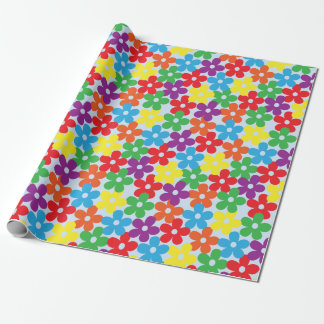 Colorful Flowers on Light Blue Wrapping Paper