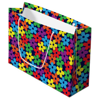 Colorful Flowers on Navy Blue Large Gift Bag