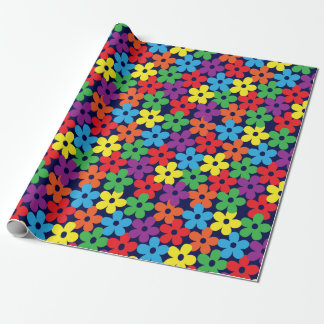 Colorful Flowers on Navy Blue Wrapping Paper