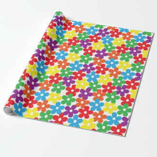 Colorful Flowers on White Wrapping Paper