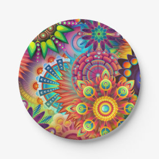 Colorful Flowers Paper Plate