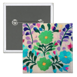 Colorful Flowers Pattern 15 Cm Square Badge