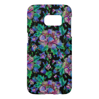 Colorful Flowers Pattern Black Background