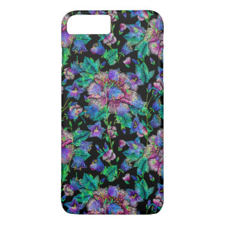 Colorful Flowers Pattern Black Background iPhone 7 Plus Case