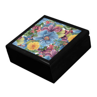 Colorful Flowers Pattern Large Square Gift Box