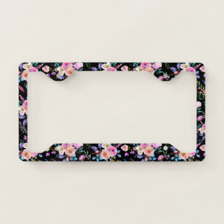 Colorful Flowers Pattern On Black Licence Plate Frame