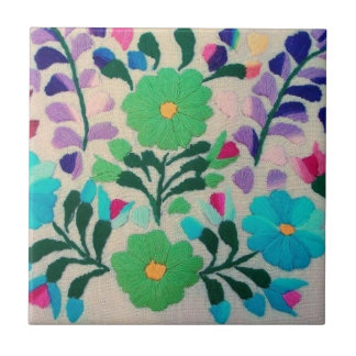 Colorful Flowers Pattern Small Square Tile