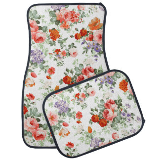 Colorful Flowers Pattern White Background Car Mat