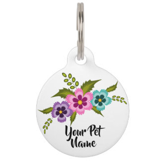 Colorful Flowers Pet Tag