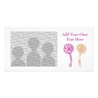 Colorful flowers. Pink and Orange. Customized Photo Card