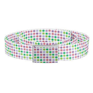 Colorful Flowers Pink Purple Green Teal Pattern Belt