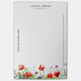 Colorful Flowers & Red poppies Post-it Notes