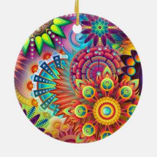 Colorful Flowers Round Ceramic Decoration